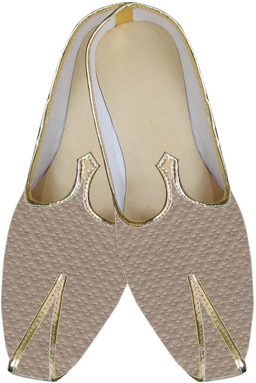 INMONARCH Mens Beige Wedding shoes Checks Design MJ0015