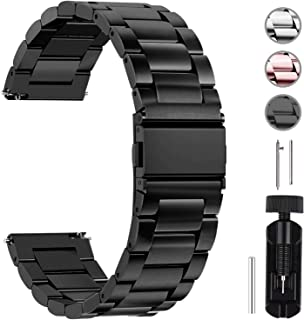 Fullmosa Quick Release Watch Strap, Stainless Steel Watch Band 16mm, 18mm, 20mm, 22mm or 24mm, 22mm Black