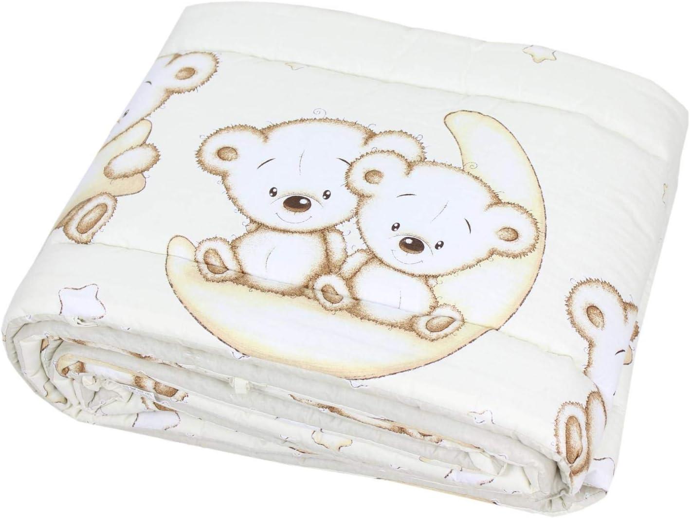 TupTam Baby Nestchen f/ür Babybett Gemustert Farbe: Gro/ße Wei/ße Tupfen//Grau Gr/ö/ße: 420x30cm f/ür Babybett 140x70