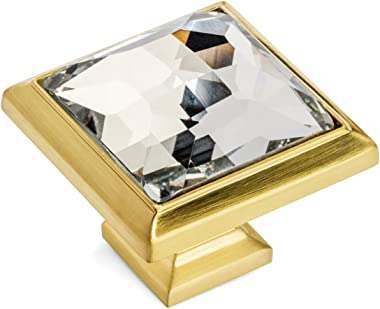 """5 Pack - Cosmas 5883BB-C Brushed Brass Cabinet Hardware Square Knob with Clear Glass - 1-1/4"""" Square"""