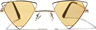 Sunglasses Fashion Accessories Metal Hollow Triangle Personality Style Sunglasses Party Decoration UV (Color : Yellow)