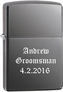 Groomsman Gift Personalized Black Ice Zippo LIGHTER - Free Laser Engraving