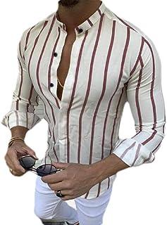 GAGA Men Casual Button Stripe Printing Short Sleeve Tops T Shirt Blouse