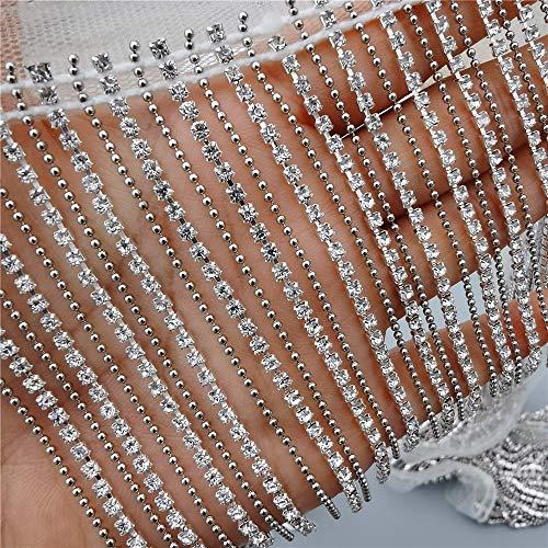 100cm Bling Diamante Diamond Trim Ribbon Tassel Fringe Rhinestone 9cm Width Chain Crystal Gem Sparkle Wedding Bridal Necklace Prom Evening Dress Applique Show Accessories Sash Belt Headwear Craft