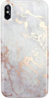 JIAXIUFEN Compatible with iPhone Xs Max Case Shiny Rose Gold Cloud Gray Marble Slim Shockproof Flexible Bumper TPU Soft Case Rubber Silicone Cover Phone Case