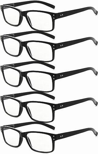 Eyekepper Lunettes sans grossissement pour hommes-5 Pack Lunettes à monture noire pour hommes Lunettes pour femmes