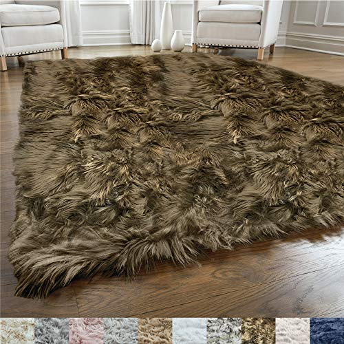 Gorilla Grip Original Premium Faux Fur Area Rug, 6x9, Softest, Luxurious Shag Carpet Rugs for Bedroom, Living Room, Luxury Bed Side Plush Carpets, Rectangle, Brown