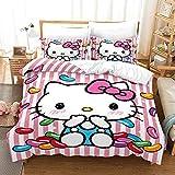 Hello Kitty - Juego de funda de edredón y funda de almohada de microfibra con impresión digital 3D de tres piezas de ropa de cama individual 135 x 200 cm+80 x 80 cm
