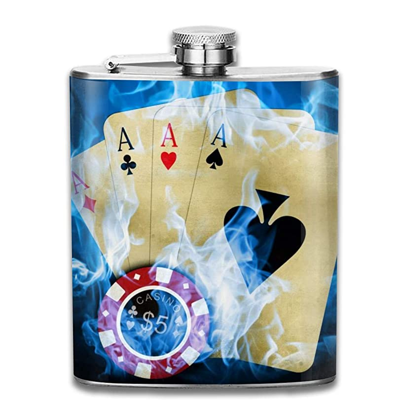 FTRGRAFE Casino Poker Aces Retro Portable 304 Stainless Steel Leak-Proof Alcohol Whiskey Liquor Wine 7OZ Pot Hip Flask Travel Camping Flagon for Man Woman Flask Great Little Gift