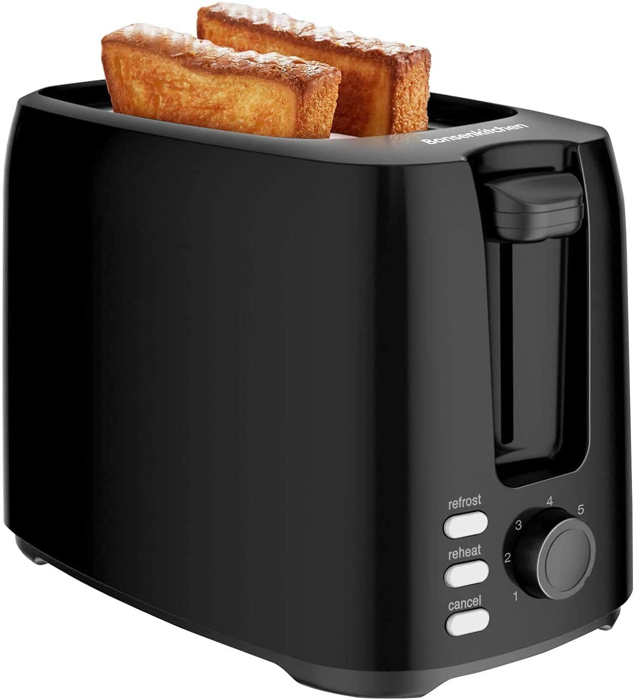 Bonsenkitchen 2 Slices Retro Toaster with 7 Browning Levels and Crumb Tray, 750W, Auto Pop-up Toaster with Defrosting and Warming up Function, Black Compact Toaster