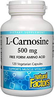 Natural Factors, L-Carnosine 500 mg, Supports Healthy Aging, Muscle and Brain Function, Dietary Supplement, 120 capsules (...