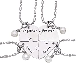 O.RIYA Together Forever Never Apart Four Piece Puzzle Heart Necklace Set Stainless Steel Pearl Charm