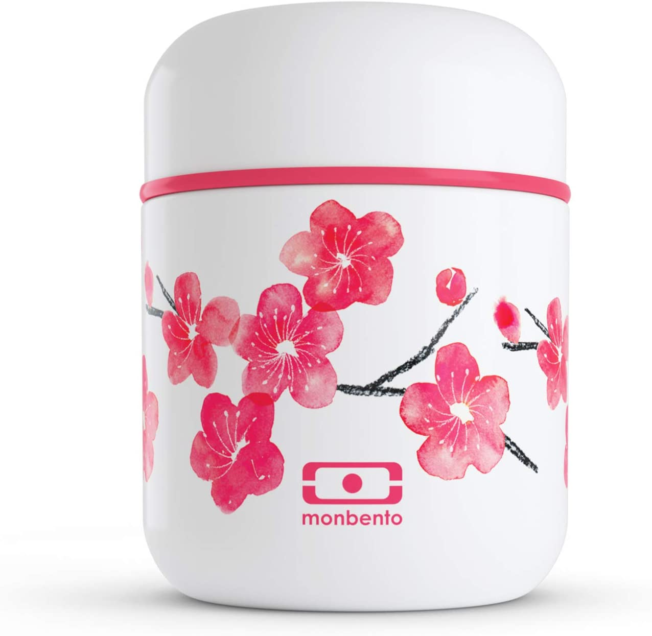 monbento - MB Capsule graphic Blossom pink flowers small insulated container - Food Jar - leakproof and insulated lunch box keeps food hot/cold - BPA free - Food grade safe