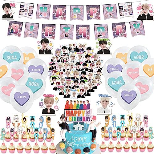 84 piezas BTS decoraciones de cumpleaños Globos Banner Cake Topper Pegatinas BTS suministros de fiesta (44 piezas+40stickerB, HP-JY-315bts)