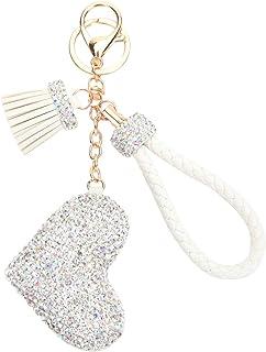 Fawziya Keychain Heart Rhinestone Keychains With Tassle