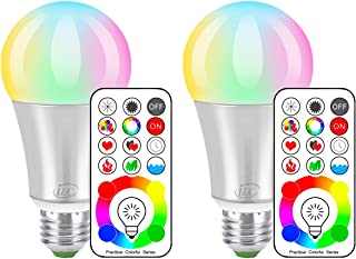 iLC LED Color Changing Light Bulb with Remote Control RGBW - 120 Different Color Choices – RGB Daylight and White Dimmable – Timing Function - A19 E26 Edison Screw, 60 Watt Equivalent(2 Pack)