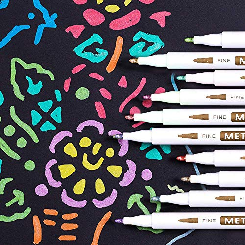 18 Pack Metallic Marker Pens, Lineon 16 Colors Fine Tip Paint Pens with 2 Stencils for DIY Craft Photo Album Rock Art Painting Card Making Glass Wood Photo #7
