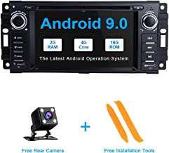 TOOPAI Android 9.0 Car Radio Car Stereo GPS Navigation 6.2 Inch Touch Display for Dodge Ram Challenger Jeep Wrangler JK Single Din Head Unit Support Screen Mirror 4G WiFi OBD2 Steering Wheel Control