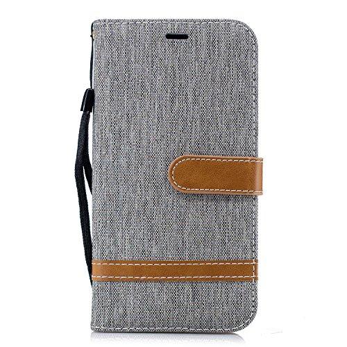 Handyhülle für iPhone XR Hülle Leder Schutzhülle Brieftasche mit Kartenfach Magnetisch Stoßfest Handyhülle Case für Apple iPhone XR - XIBIF020129 Grau
