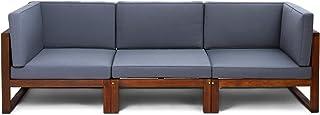 410b5119 CHILLVERT Conjunto sofá 3 módulos de jardín Camberra de madera de eucalipto  FSC, con cojines