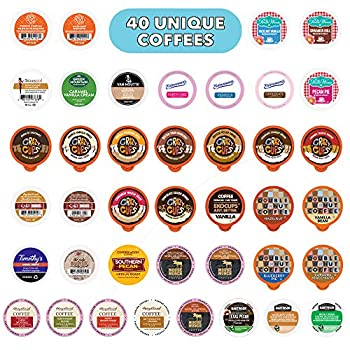 Crazy Cups Flavored Coffee Pods Variety Pack Fully Compatible With All Keurig Flavored K Cups Brewers Coffee Sampler 40 Count