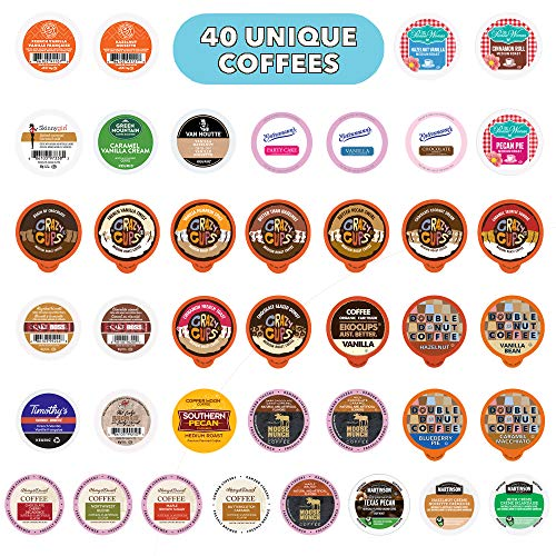 Crazy Cups Flavored Coffee Pods Variety Pack, Fully Compatible With All Keurig Flavored K Cups Brewers, Coffee Sampler, 40 Count