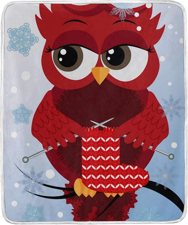 Vantaso Blankets Cute Red Owls Knitting Xmas Sock Throws Soft Kids Girls Boys 50x60 inch