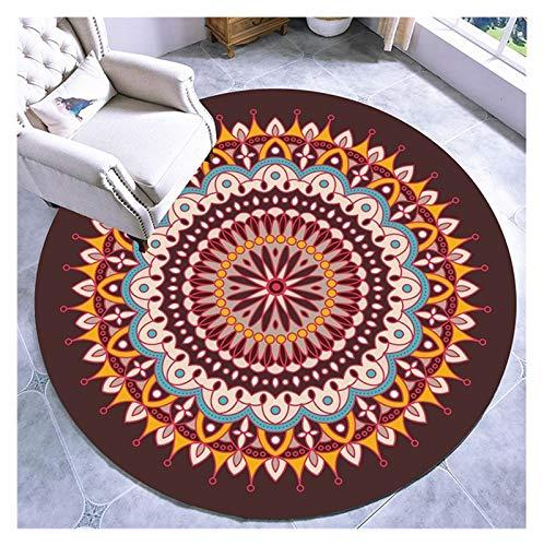 WZLL Alfombra Redonda para Sala Retro Mandala Alfombras De Área Circular Patrón Floral Lavable No Se Desvanece Hogar Alfombrilla Decorativa (Color : A, Size : Ø140cm)
