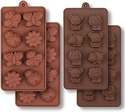 HomEdge Molde de silicona para chocolate, insectos del bosque y animales con oso hipopótamo, león, mariposa, abeja, mariquita para caramelos, gelatina, 4 piezas