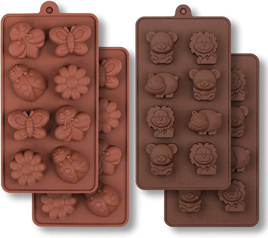 HomEdge Silicone Chocolate Mold Forest Bug And Animal Mold With Hippo Bear Lion Butterfly Bee Ladybird For Candies Jelly 4PCS