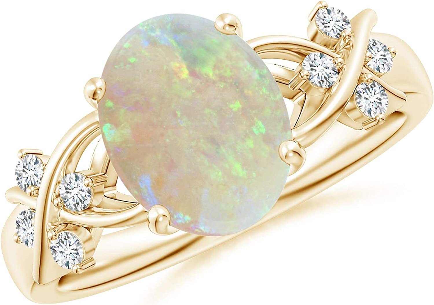 Solitaire Oval Opal Criss Japan Maker New shop Cross 10x8mm Diamonds Ring with