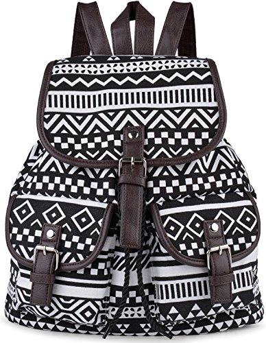 Damen Rucksack,COOFIT Canvas Rucksack Damen Daypack Schulrucksack Schultaschen Taschen Freizeitrucksack (SF-14)