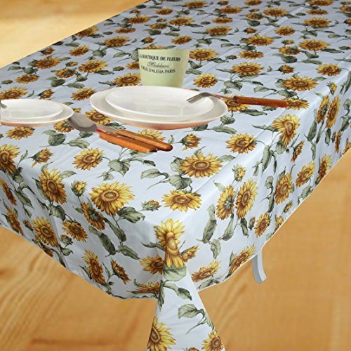 Classic Euro Sunflower Tablecloth With Large Sunflowers Design, 60' Round