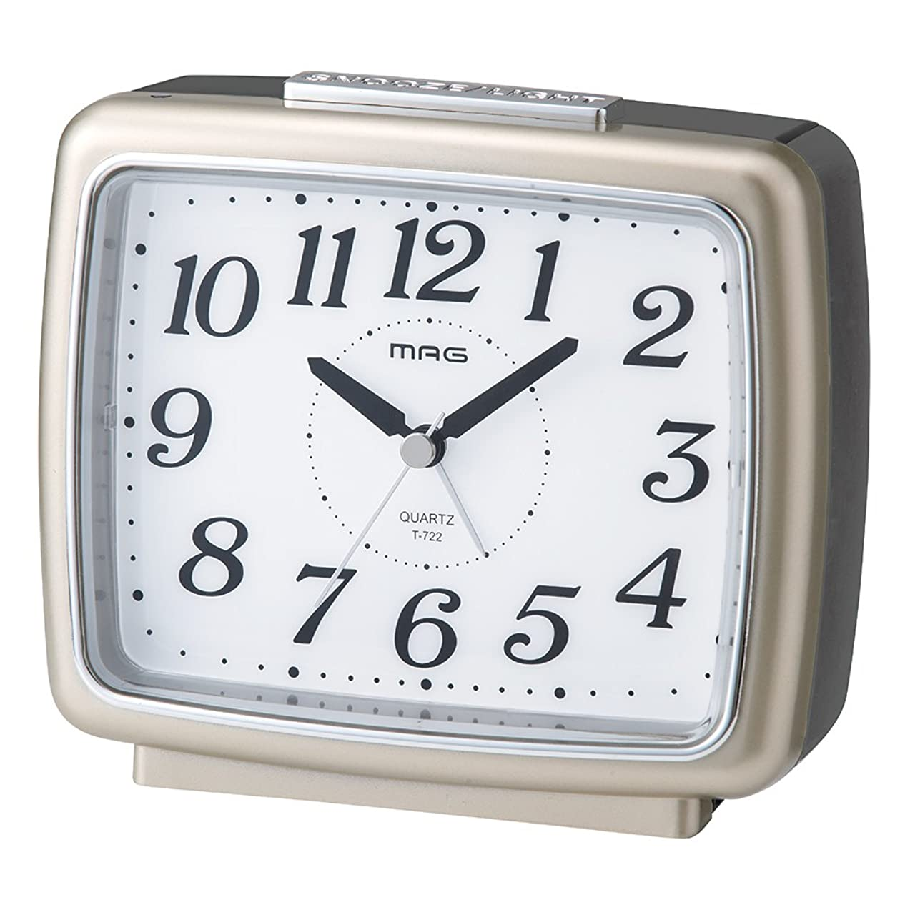 消費チャンバーサイクルMAG(マグ) 目覚まし時計 非電波 アナログ ブリリア 連続秒針 自動点灯ライト シャンペンゴールド T-722CGM-Z