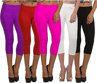 Fablab Women's Cotton Lycra Skin Tight Capris Capri_CLS_190-5-19PuRPBW,Free Size,PurpleRedPinkBlackWhite
