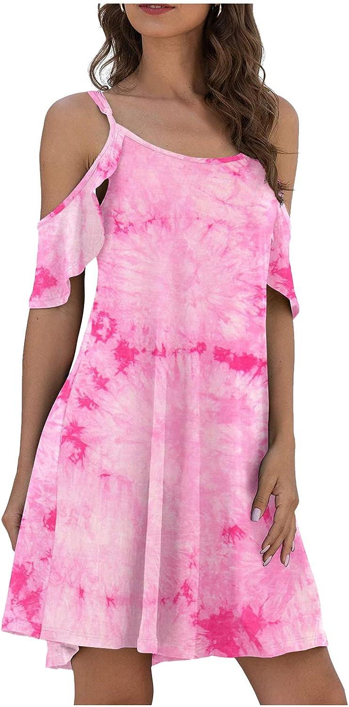 MASZONE Mini Dress for Women, Womens Summer Cold Shoulder Criss Cross Neckline Short Sleeve Casual Tunic Top Dress