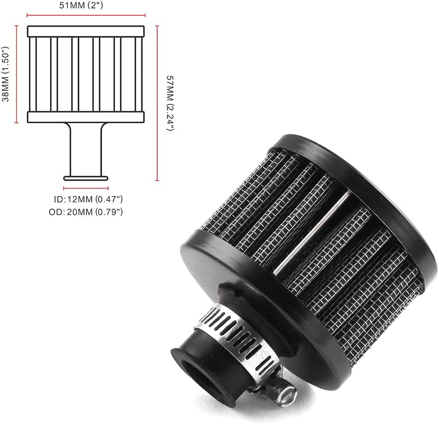 TOOOPFU 12mm Air Filter Cold Air Intake Filter Breather Turbo Ve