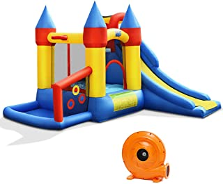 BOUNTECH Inflatable Bounce House, 6-in-1 Castle Bouncer w/ Long Slide, Jumping Area, Basketball Rim, Ball Playing Area, Including 50PCS Balls, Carry Bag, Repair Kit, Stakes (with 680W Air Blower)