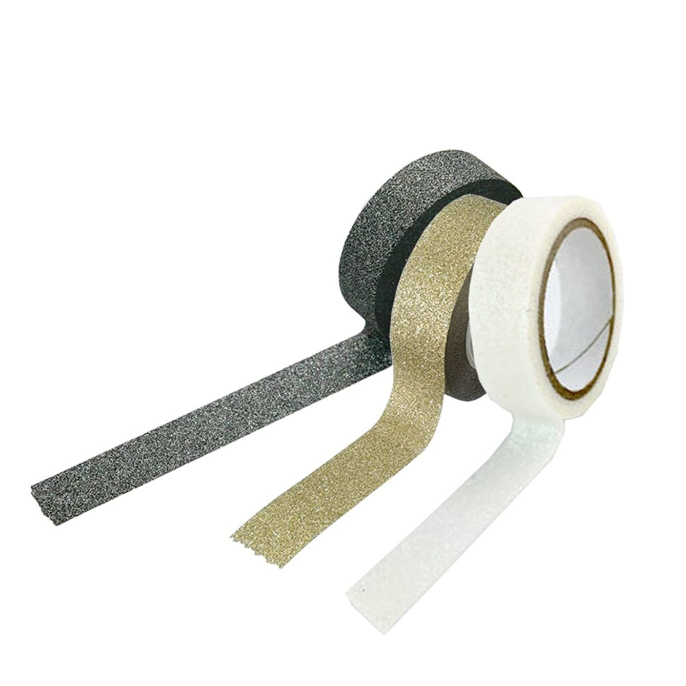 White + Black + Gold Glitter Washi Tape set of 3 pc