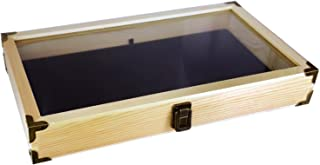 Mooca Natural Wood Glass Top Jewelry Display Case, Wooden Jewelry Tray for Collectibles, Home Organization Accessories Storage Box with Metal Clasp and Black Velvet Pad