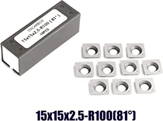"""OSCARBIDE Carbide Inserts Byrd Shelix Replacement Cutters (15x15x2.5mm R100-81°) 15mm Square Woodworking Cutters with 4"""" Edge Radius,10pcs/pack"""