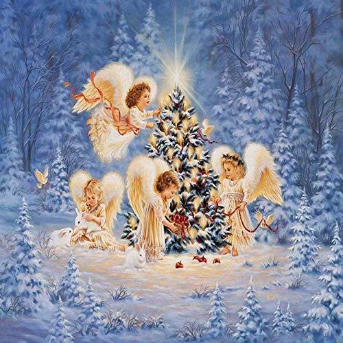 Kits de pintura de diamantes DIY 5D Navidad cuatro angelitos punto de cruz artesanía bordado de diamantes navidad...