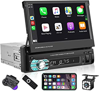 $129 » Single Din Car Stereo with CarPlay ,EKAT 7 Inch Flip Out Touchscreen Car Radio Receicer Supports Bluetooth FM Mirror Link ...