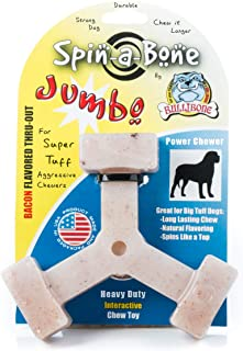 Bullibone Large Spinning Dog Chew Toys: Interactive Dog Toys for Aggressive Chewers, Spinning Indestructible Dog Toys for Power Chewers, Long Lasting Dog Chew with Bacon Flavor That Dogs Love