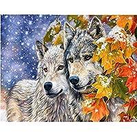 大人の子供のための1500ピースのパズル葉の横にある2人のオオカミ大人のための大きなパズルゲームのアートワーク10代(87 X 57 cm)