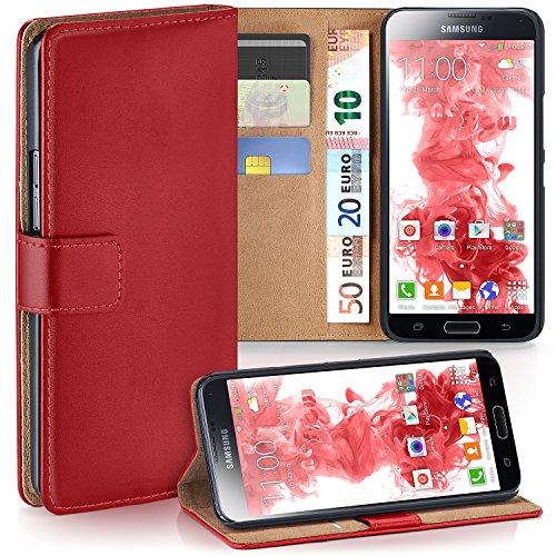 MoEx Premium Book-Case Handytasche kompatibel mit Samsung Galaxy S5 Mini | Handyhülle mit Kartenfach und Ständer - 360 Grad Schutz Handy Tasche, Rot