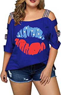 YOcheerful Women Plus Size Tops Casual Print Off Shoulder Tops July 4th T-Shirts Loose Flowy Tops