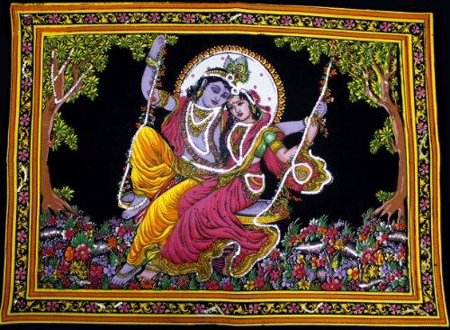 Lord Krishna & Göttin Radha Pailletten Sitara Batik Baumwolle Wand Tapisserie 101,6x 76,2cm