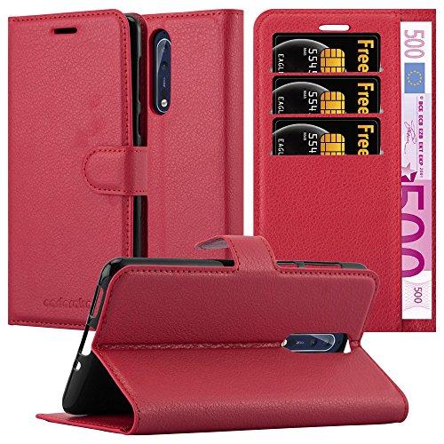 Preisvergleich Produktbild Cadorabo Hülle für Nokia 8 in Karmin ROT - Handyhülle mit Magnetverschluss,  Standfunktion und Kartenfach - Case Cover Schutzhülle Etui Tasche Book Klapp Style