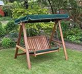 Kingfisher FSWSET5 Hardwood Swinging Hammock Bench Seat with Canopy
